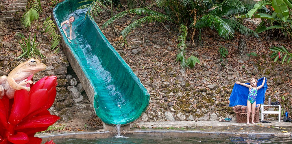Water slide in the jungle of Costa Rica