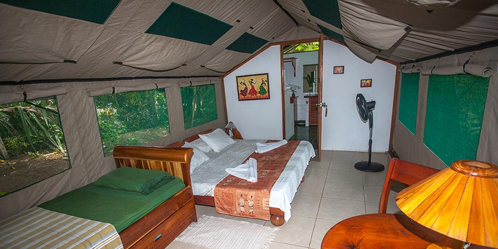 Inside luxury Safari Tent Rafiki Beach Camp