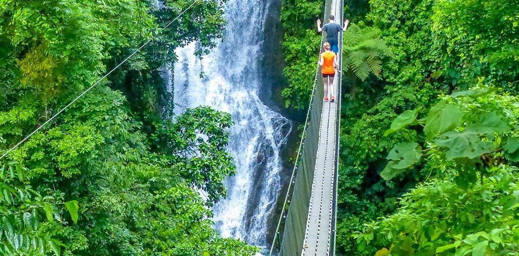 Crossing a 350 foot suspension bridge