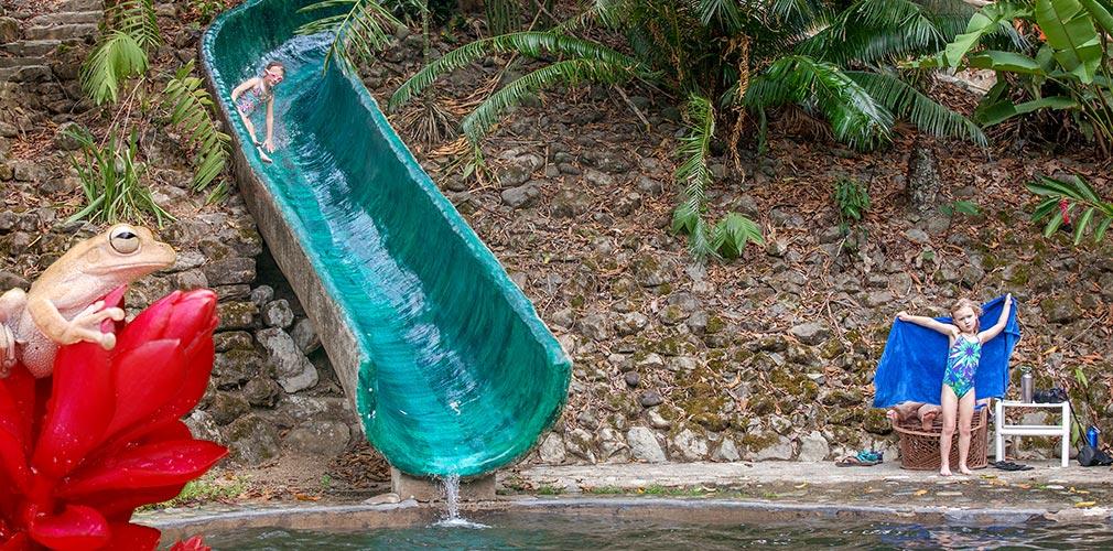 Water slide in the jungle of Costa Rica