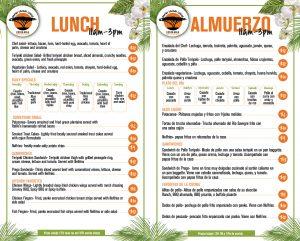 Rafiki lunch menu